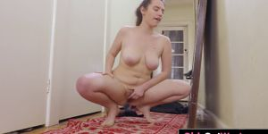 Busty Hairy Amateur Masturbates In Front Of The Mirror
