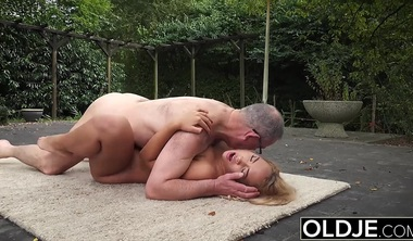 Grandpa Gets Teen Wet And Licks Her Boobs While Fucking Her H