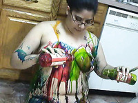 Now Thatstupid Amateur Milfie Chick Puts Paint All Over Herself
