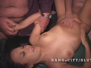 Amateur Chick Got Tits Squeezed And Fucked In Gangbang Style