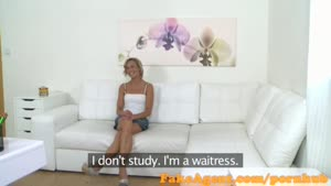 FakeAgent Shy Waitress Is Looking To Become A Model