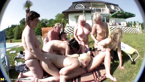 Old And Young Group Sex With Pissing Lesbian Bitches
