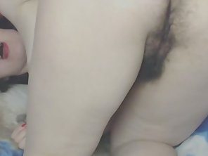 Hairy Mature Fucks Her Pussy And Ass With Dildo