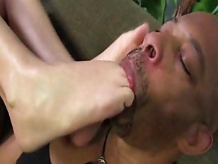 Interracial And Weird Footjob Scenario Gets Going On A Couch