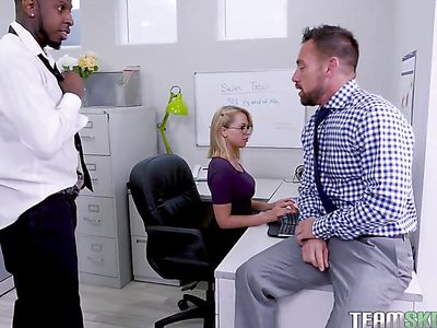 Interracial DP In The Office With Zoey Monroe