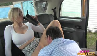 Busty Blonde Rebecca More Takes Two Cocks In Female Fake Taxi