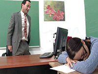 Brunette Schoolgirl Gets Punished For Sleeping In The Class