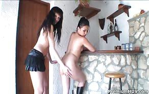 Two Brunette Lesbians Jessica Blue And Lady Mai Lick Some Pussy