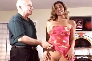 A Blonde Cum Drinker Blows A Guy With Big Cock In The Living Room