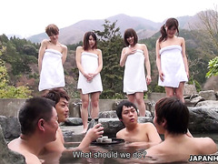 Hot Spring Masturbation And Dick Sucking With Four Jap Babes