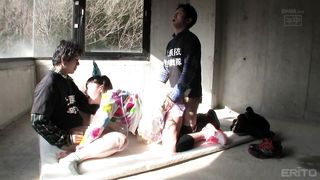 Cutie Japanese Chick In Costume Getting Banged By Three Guys