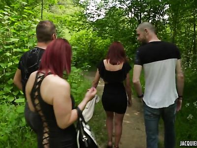 Outdoor DP With Big Titted Redhead Sandy
