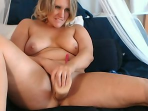 Mature Chubby Blonde Whore Fucks Her Pussy With A Dildo