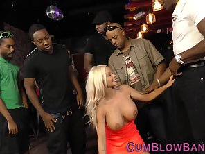 Kinky Blonde With Big Boobs Suck Bunch Of Dicks In Group