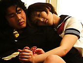 Sweet And Kinky Japanese Coed Girl In Uniform Jerks Off Dude's Cock