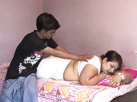 Horny Man Enjoys Spooning Natural Boobies Of His Fat Wifey