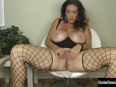 Fishnet Mom With Huge Juggs Charlee Chase  Dildos Her Cunt