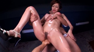 Oiled Up Asian MILF Julia Getting Fucked From Two Horny Studs
