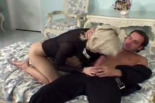 Light-haired Co-ed Carina Is Getting Some Pumping From Dick In A Living Room