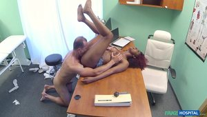 Afro-sporting Ebony Hottie Takes The Doctor's Dick