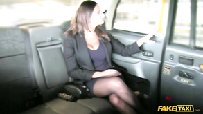 Brunette With Sexy Boobs And Accent Fucked In Cab