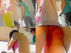G-string And Flabby Ass Of A Brunette In Upskirt Mov