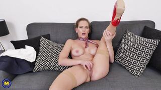 Brunette Milf With Big Titties Fucking Herself On Couch