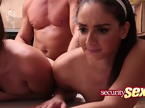 Two Brunette Babes Getting Three Ways Slammed By LP Officer