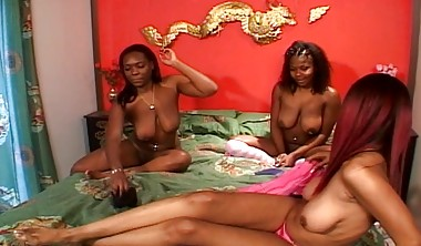 Three Black Enjoying Themselves With Adult Toys And Showing P