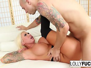 Round Ass Whore Lolly Ink Titty Fucks Her Guy's Big Cock