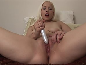 Blonde Undressed And Shows Her Big Boobs Then Enjoys Solo Masturbation